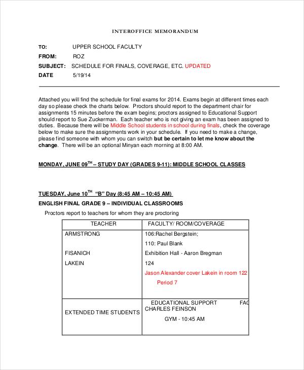 Printable Interoffice Memorandum Sample  Examples Of Interoffice Memorandum