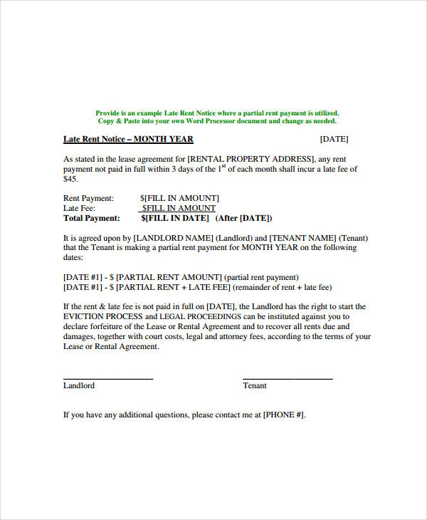 printable late rent notice