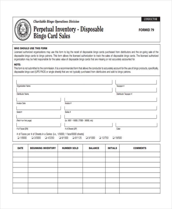 printable perpetual inventory