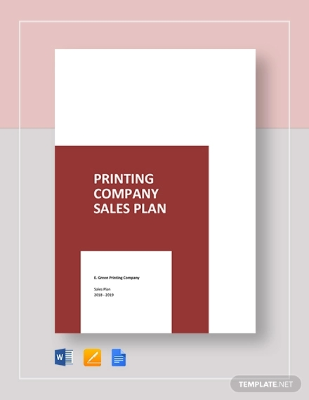 printing company sales plan template