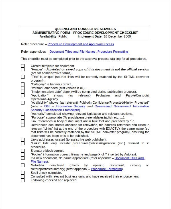 procedure development checklist