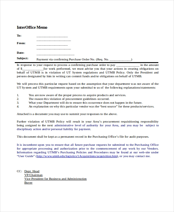 sample purchase request memo  16  Interoffice Memorandum Examples, Samples