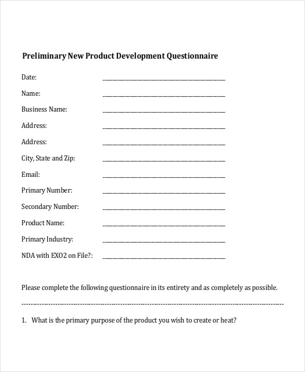 Product Questionnaire Examples Samples