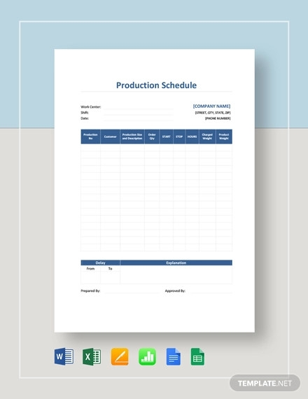 production schedule template1