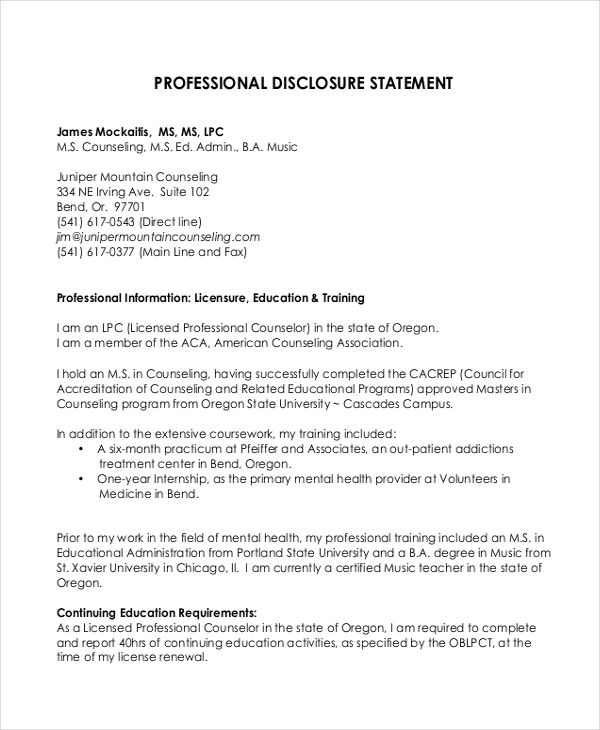 professional disclosure statement essay Sample forms and templates consistent with the 2017 code of professional ethics for rehabilitation counselors, the use of professional disclosure forms are requiredspecifically, standard a3a states, rehabilitation counselors review with clients, both orally and in writing, the rights and responsibilities of both the rehabilitation counselor and client.