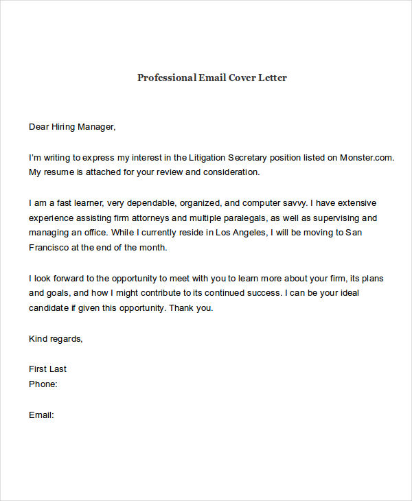 Cover Letter Attached In Email