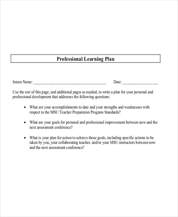 professional learning sample