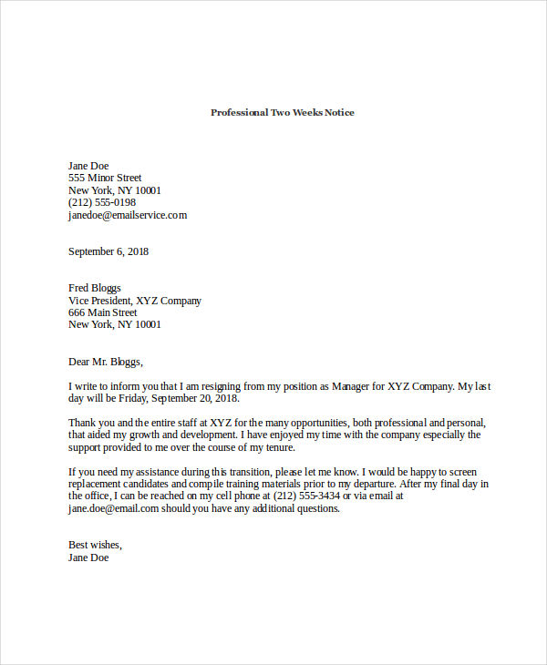 Examples Of Two Week Notice Letter Of Resignation Example Two