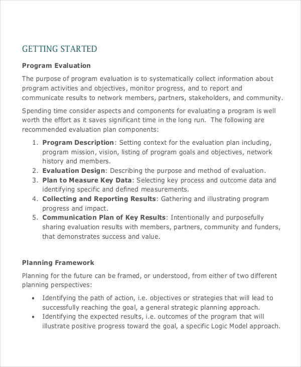 Evaluation Plan Examples Samples
