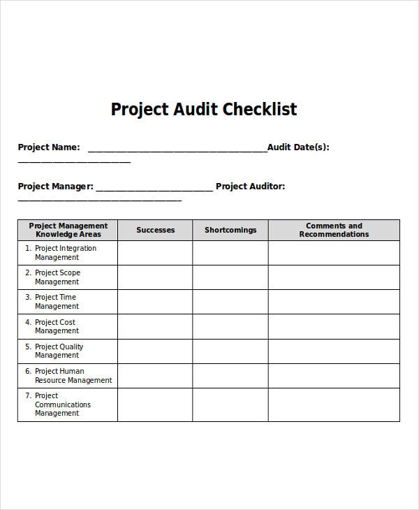 project audit checklist
