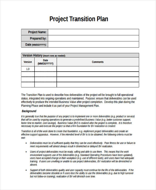 Project Transition Sample Plan