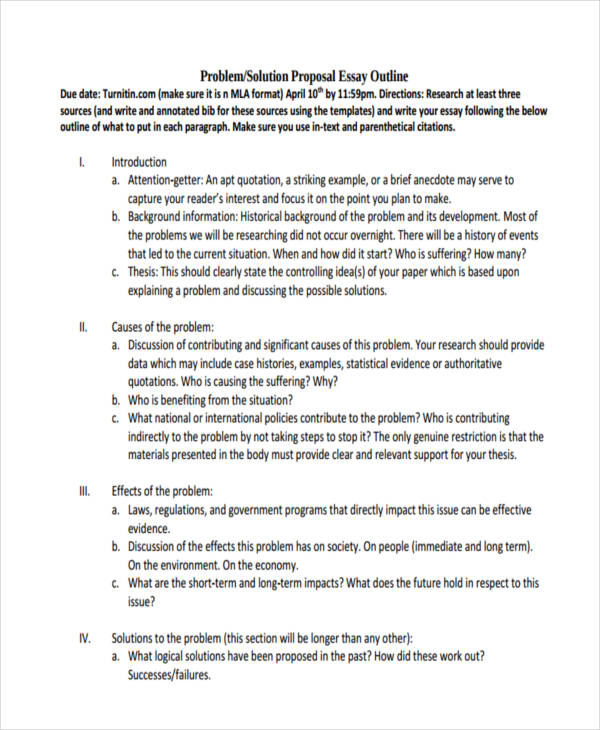 Sample Essay Outlines  Doc Pdf  Examples Problemsolution Proposal Essay Outline