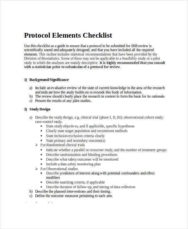 protocol element checklist
