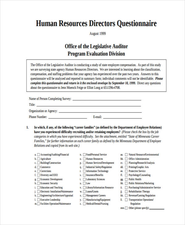 questionnaire for directors