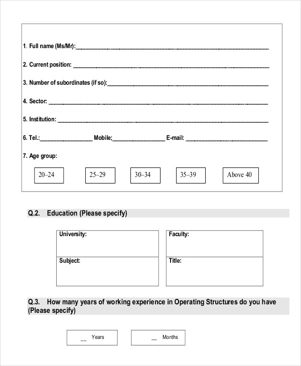 questionnaire for training