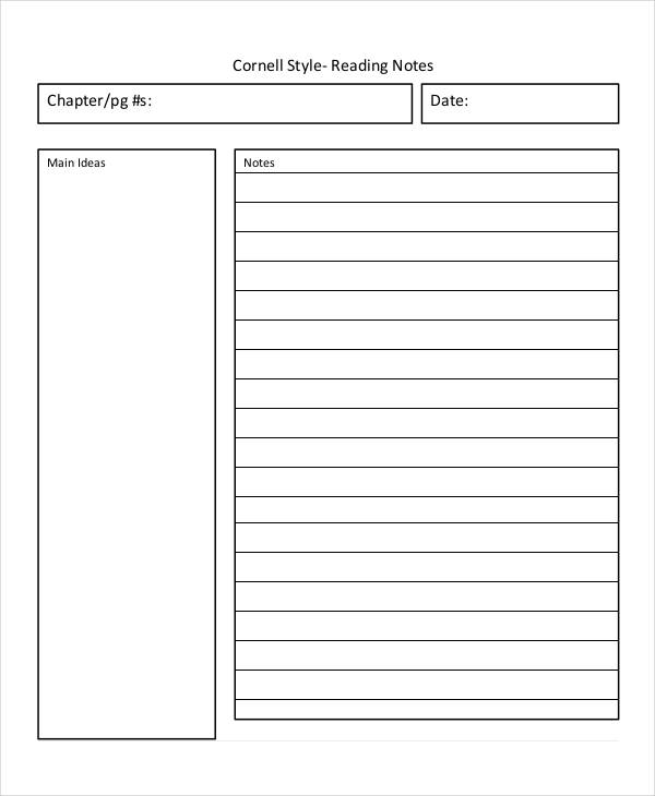 8+ Cornell Note Examples & Samples