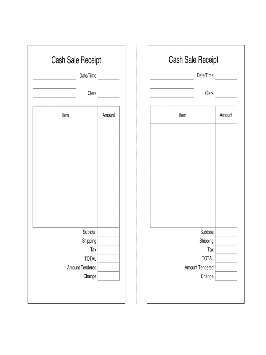 receipt for cash sales