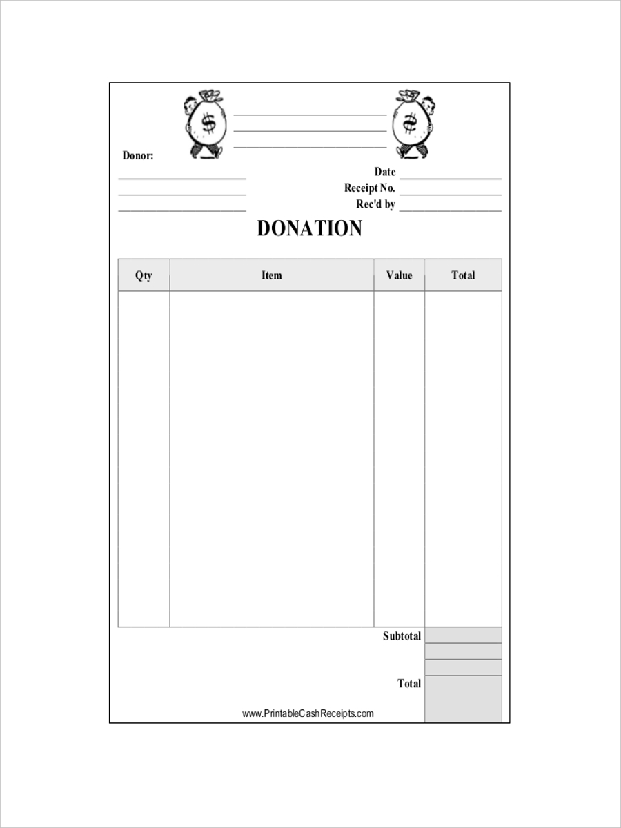 receipt for donation cash