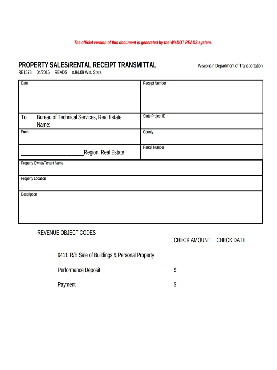 receipt for property rental