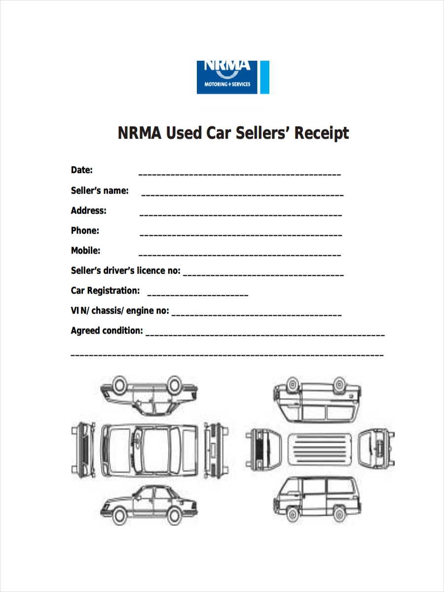 receipt for used car sales
