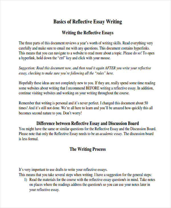 outline for reflective essay