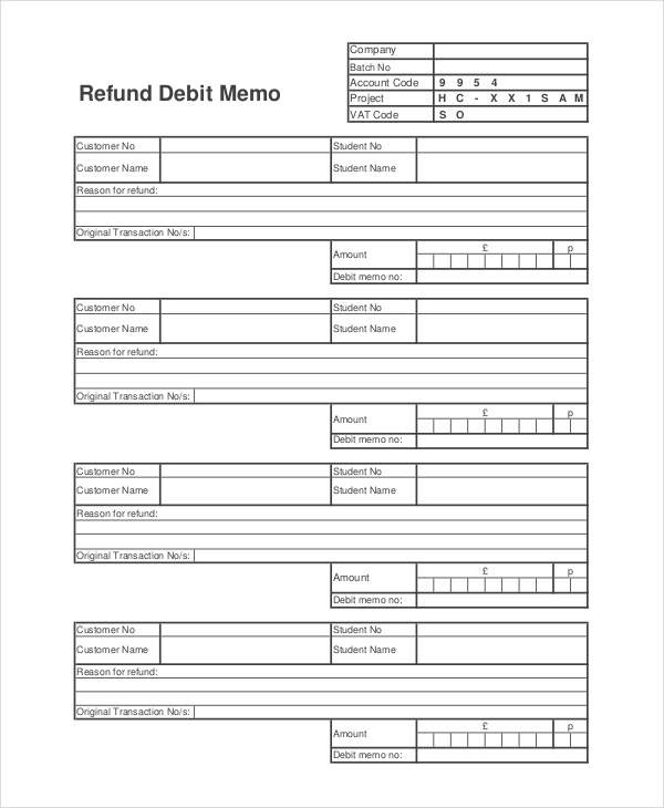 refund debit memo example