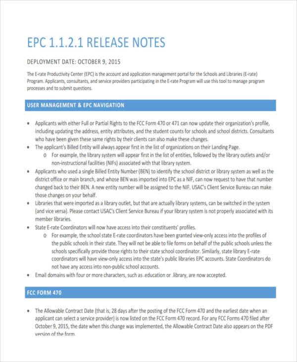 release note in pdf