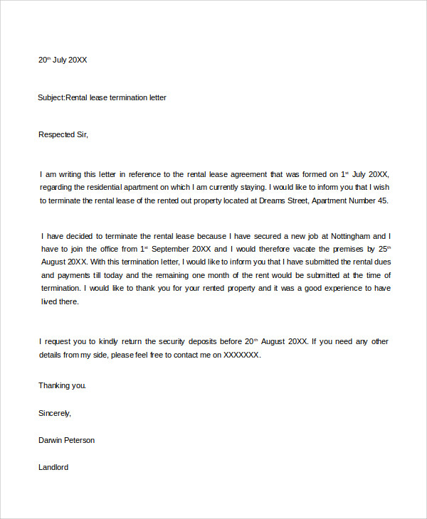 Termination Letter Examples Samples PDF DOC - Month to month lease termination letter template