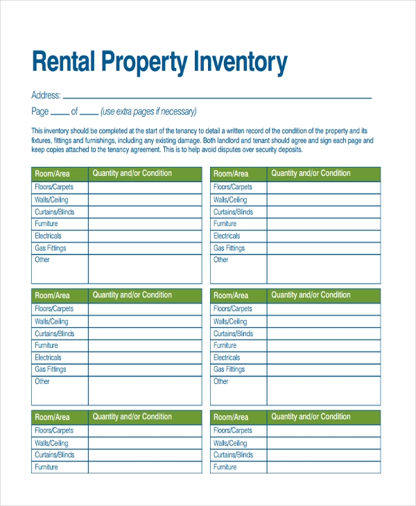 20 inventory examples in pdf for Inventory for rental property template