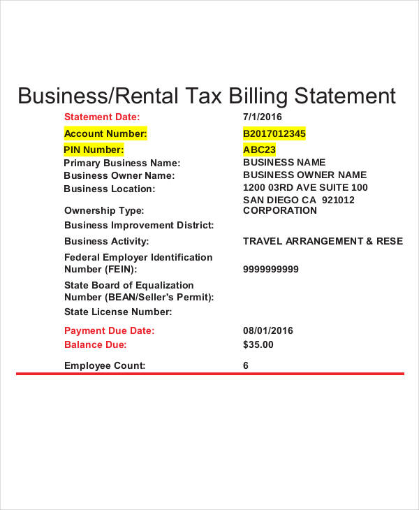 rental tax billing statement