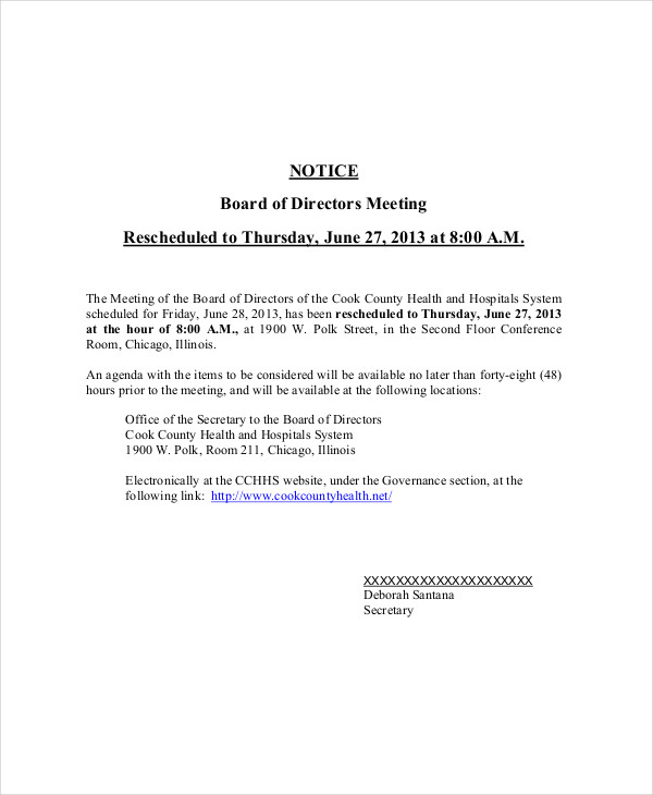rescheduled meeting notice