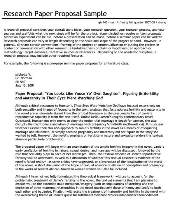 research paper proposal sample memo