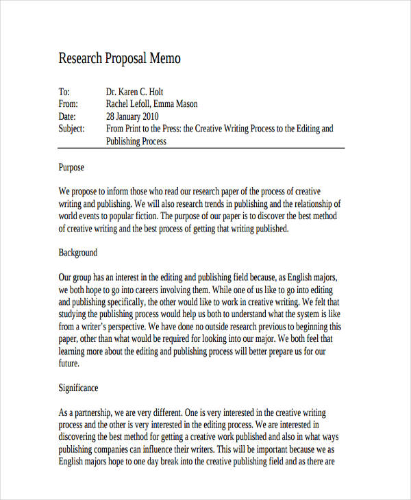 Wonderful Research Proposal Memo Example