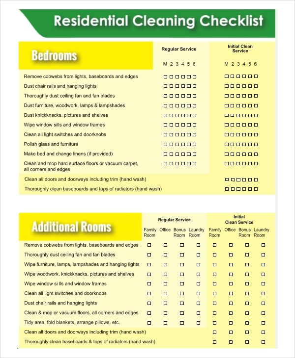 housekeeping daily cleaning checklist format - Emayti