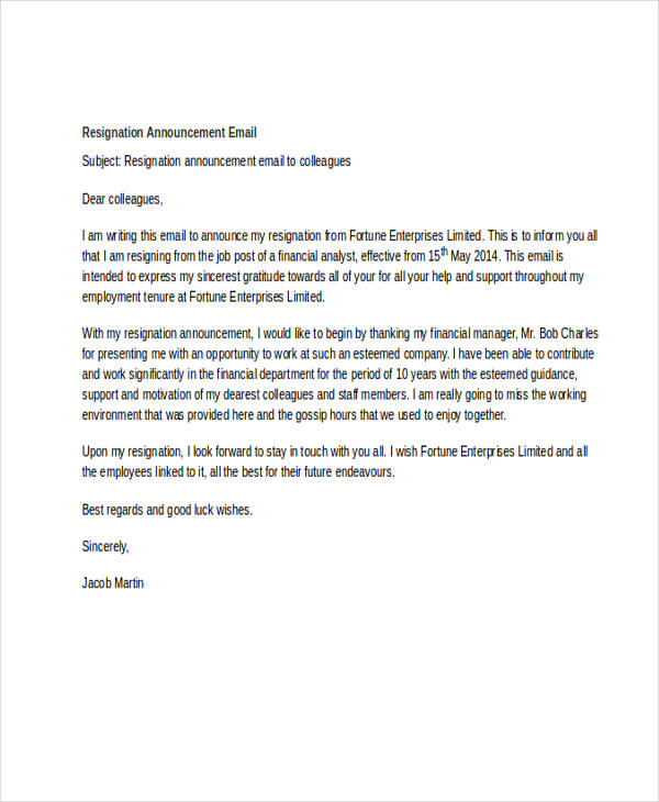 resignation announcement sample