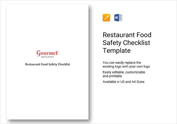 restaurant food safety checklist example