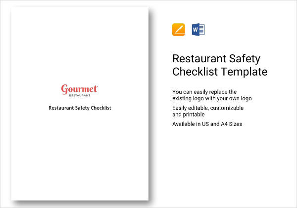restaurant safety checklist example