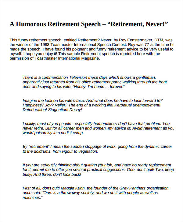 Retirement Speech Examples Samples