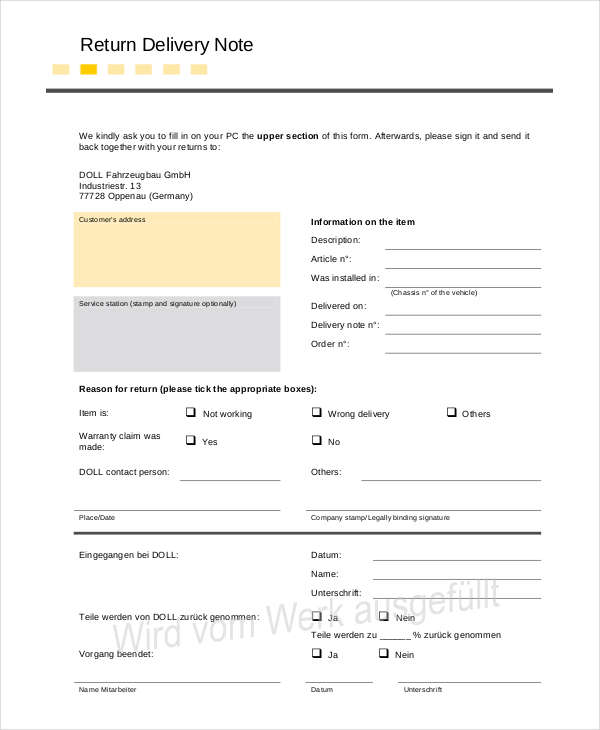 Return Delivery Note  Dispatch Note Template
