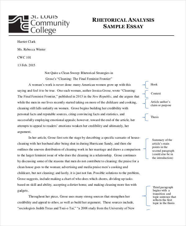 Analysis Essay Examples Samples  Examples Rhetorical Essay