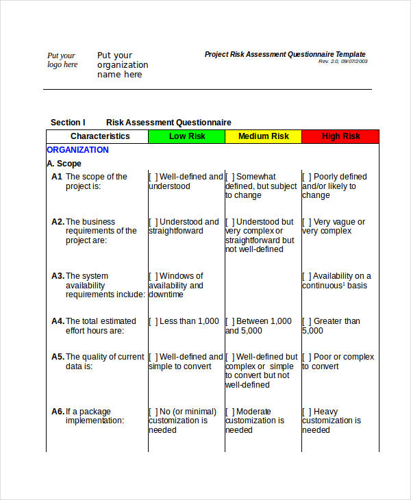 risk assessment questionnaire