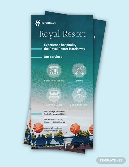 royal resort rack card example