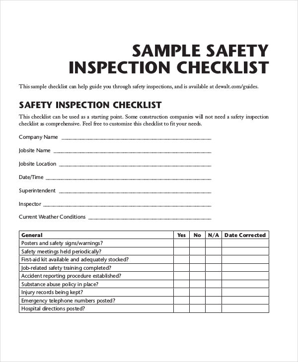 Inspection Checklist Examples Samples