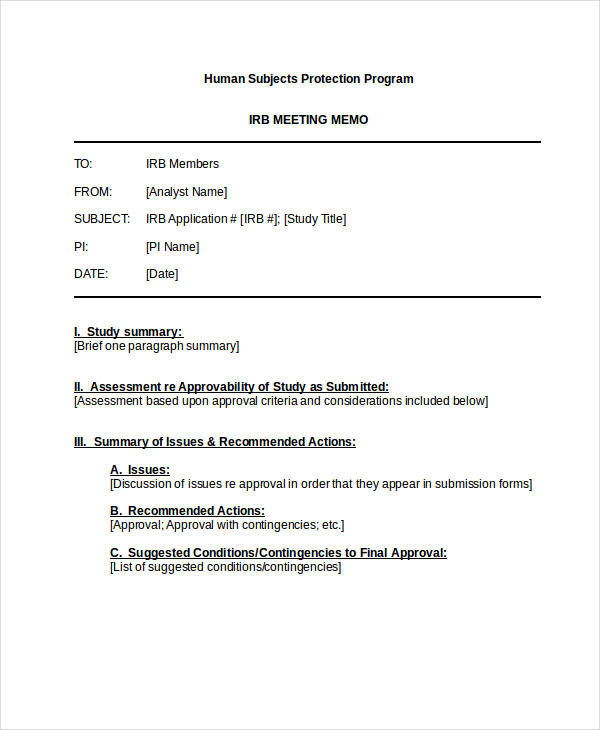 Meeting Memo Meeting Memo For Safety  Meeting Memo Examples