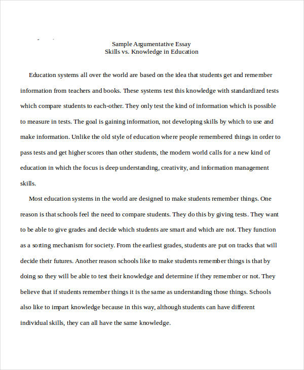 sample argumentative - Example Of Argumentative Essays