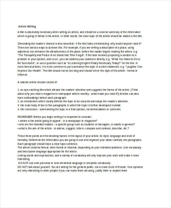 Article Writing Examples  Samples  Doc Pdf  Examples Sample Article Writing