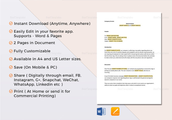 12 business memo examples samples pdf doc pages