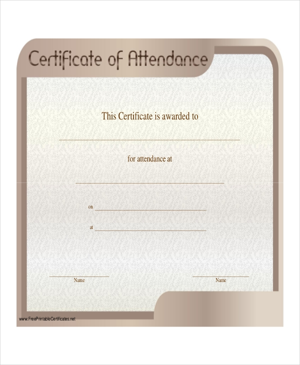 sample certificate of attendance