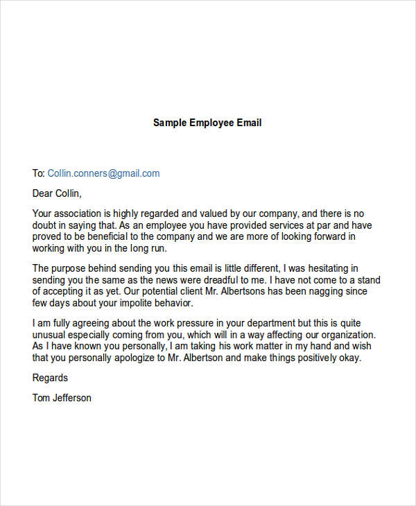 sample employee email