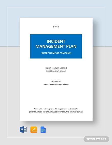 sample incident management plan